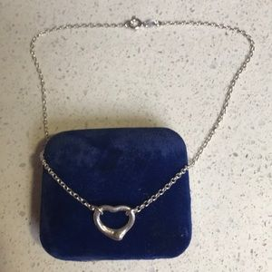 Sterling silver necklace open heart pendant